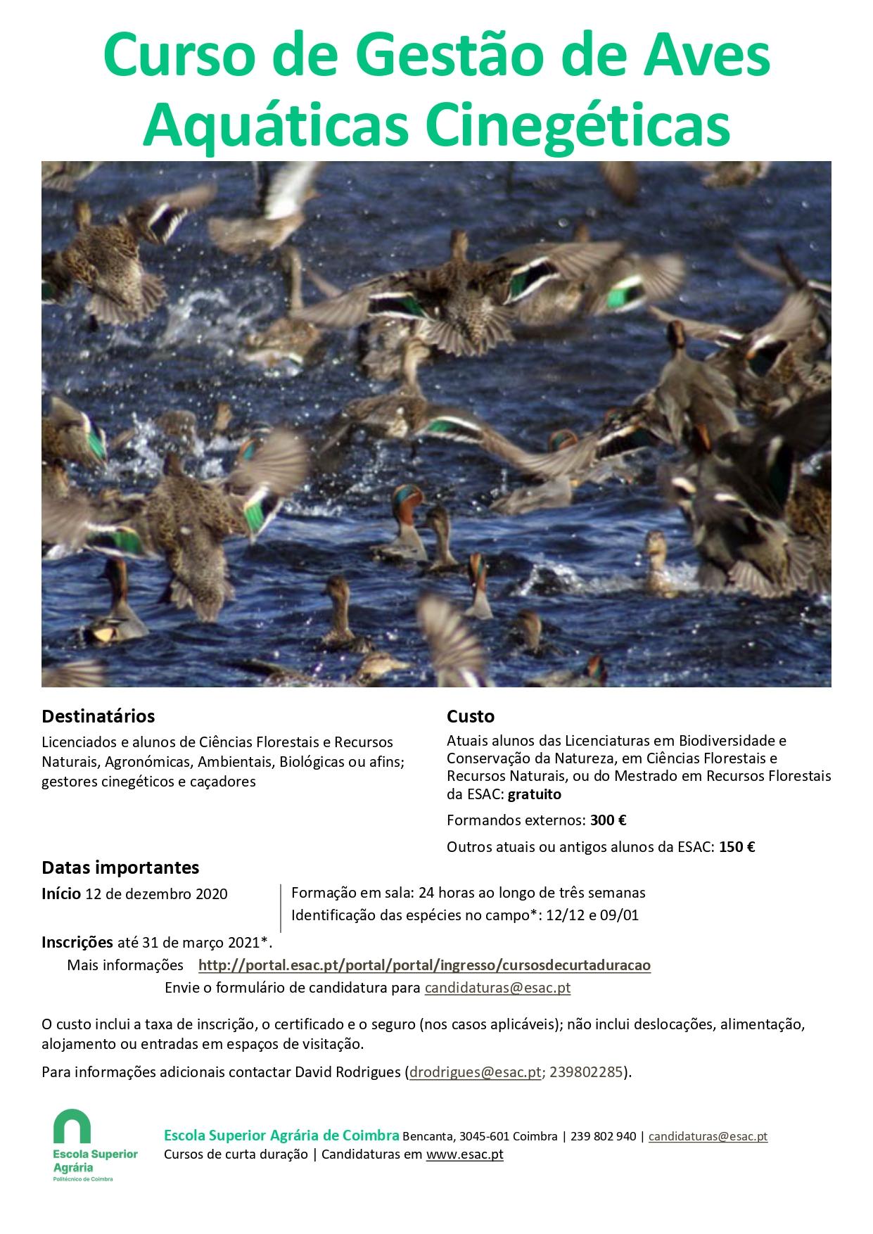 Curso de gestão de aves aquáticas cinegéticas